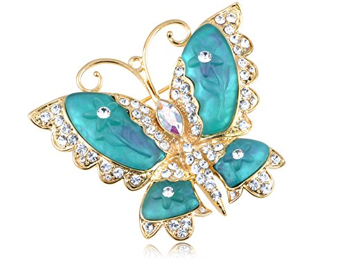 Small Butterfly Pin (Alilang Swarovski Crystal Elements Blue Green Cartoon Carved Wing Butterfly Pin Brooch)
