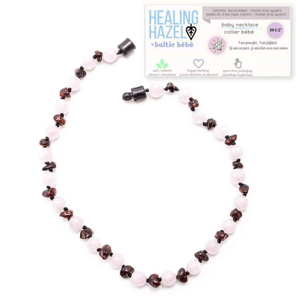 Healing Hazel + baltic bébé – 100% Certified Balticamber Pop Clasp Baby Necklace with Gemstones, Tender Rose Quartz, 10.5 inches (reduce drooling & teething pain)