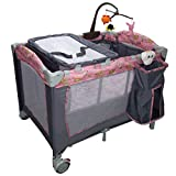 Pink Steel Frame and oxford fabric Baby Crib With Ebook