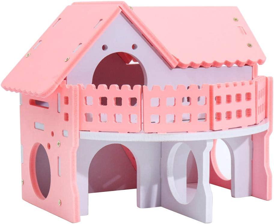 POPETPOP Castillo Casa de Madera para Hamster, Cama Ecológica de Dos Niveles con Escalera para Hamster Cobaya Mascotas Pequeñas (Rosa): Amazon.es: Productos para mascotas