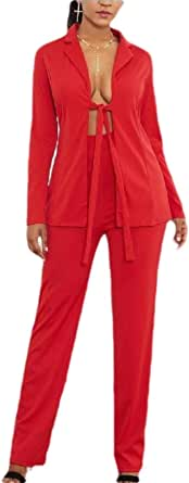 Women 2 Piece Solid Color Blazer and Long Pants Elegant Sets Outfits