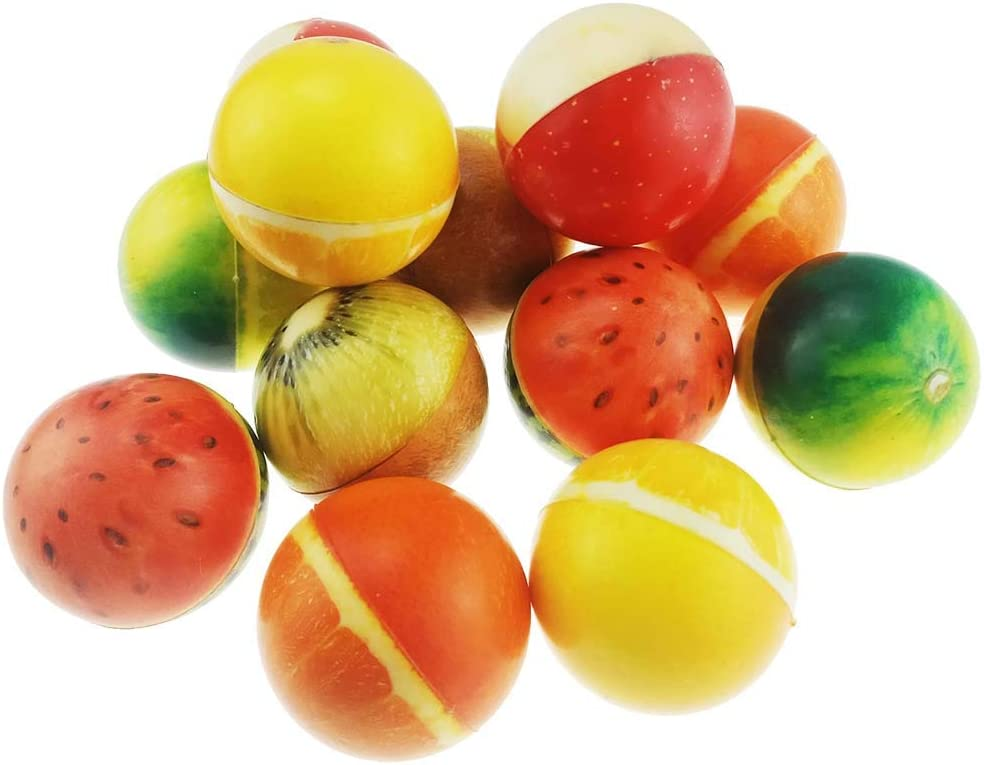 """Set of 12 Sports 2.5"""" Stress Balls - Includes Watermelon Ball, Kiwi Fruit Ball, Apple Ball, Orange Ball Squeeze Balls for Stress Relief, Party Favors, Ball Games and Prizes, Stocking Stuffers"""