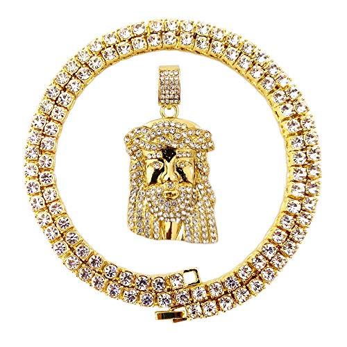 - HH Bling Empire Mens Hip Hop Iced Out 14K Gold Artificial Diamond Jesus Piece Pendant cz Tennis Chain Necklace (Jesus F)