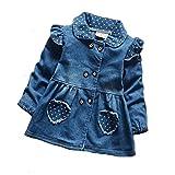 BibiCola Spring Fall Baby Girls Cute Jacket Top Jeans Dot Polka Princess Coat 12M-4T (4T)