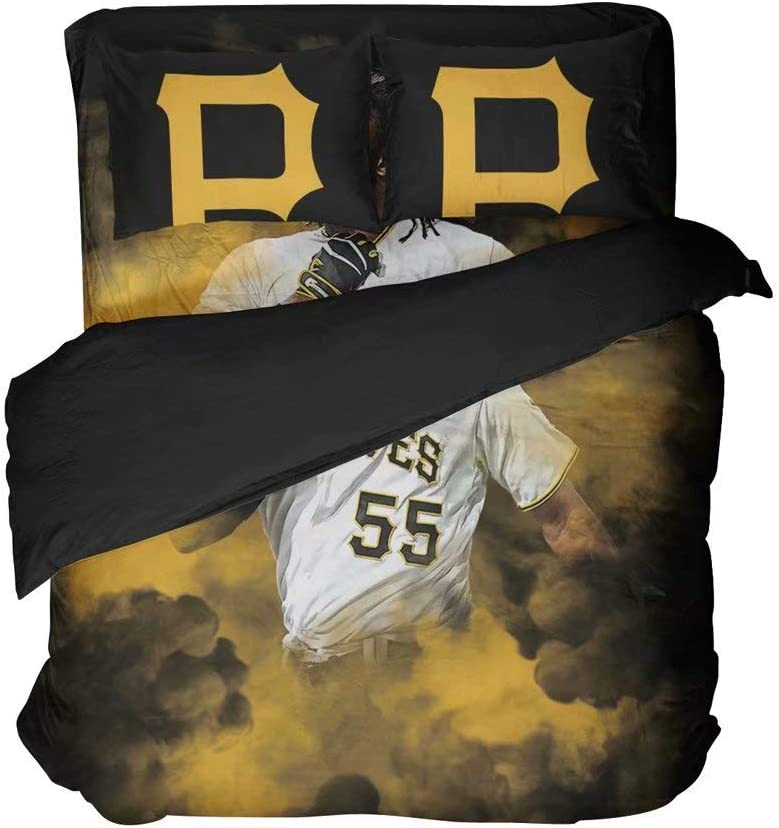 Pittsburgh Baseball Player Number 55 Bedding Top Sheet Sets 3D Print Vivid Color Sports Quilt Sets 2 Pillowcases Twin 3 Pieces(Queen 4pcs)