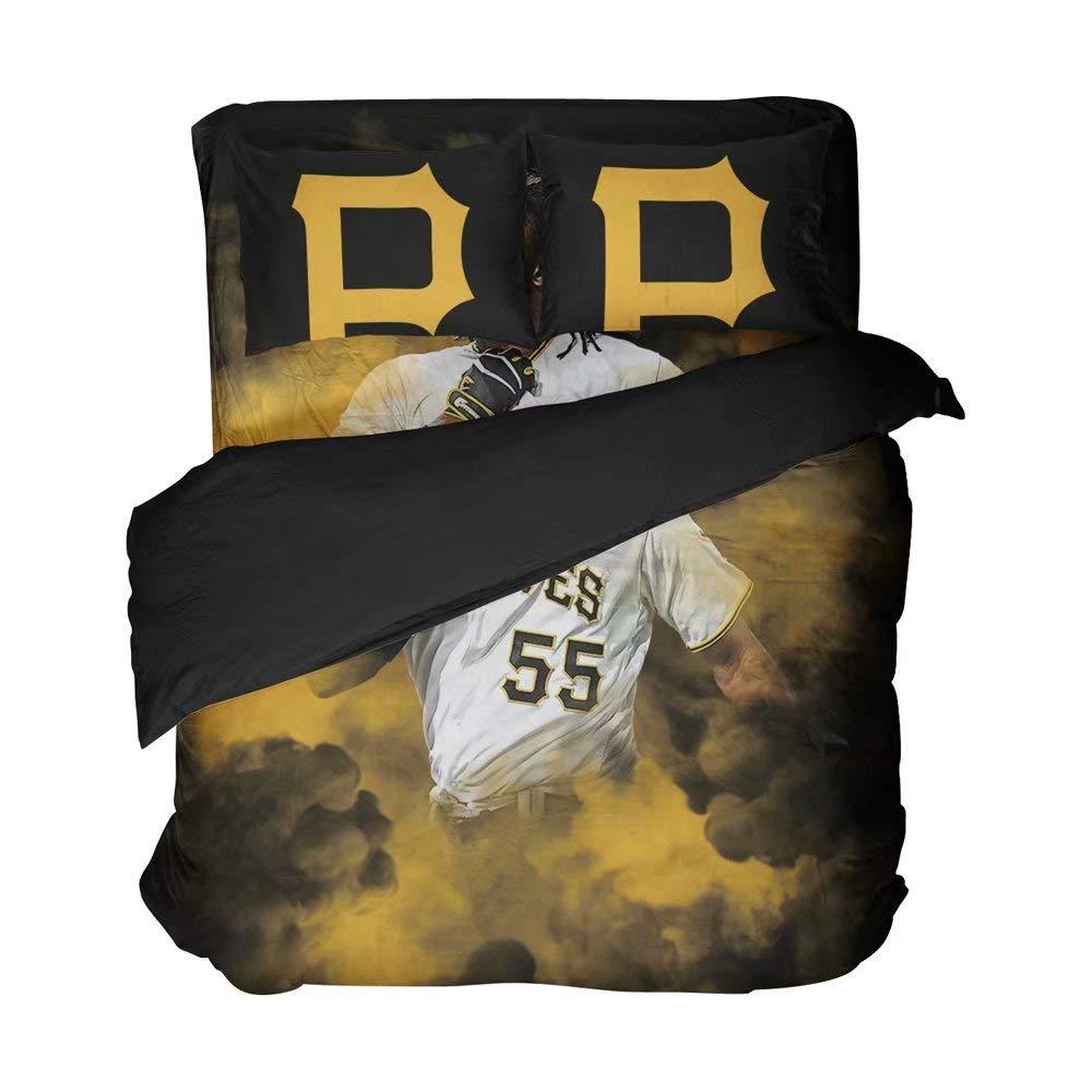 Magaport Men's Pittsburgh Duvet Sheet Set Baseball Player Number 55 Bedding Twin 4-Piece Sports Bedspread Player Bed Sheet Sets