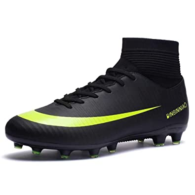 48534af56 Amazon.com | High-top Soccer Shoes Men and Women Cleats Sports Shoes Adult  Tf Broken Nail Training Shoes, 2019 Football Cleats Sneaker Shoes Black |  ...