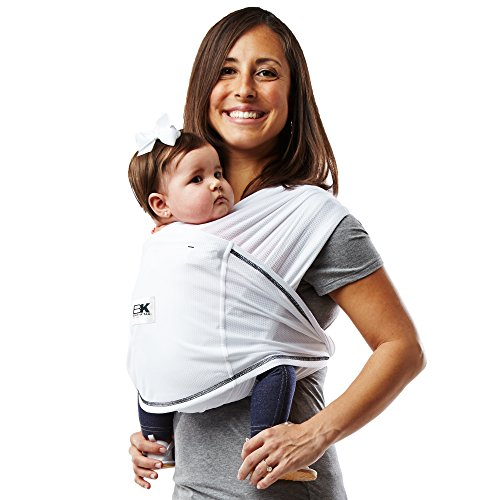 Baby K'tan Active Baby Wrap Carrier, Infant and Child Sling-White S (W Dress 6-8 / M Jacket 37-38). Newborn up to 35 lbs. Best for Babywearing.