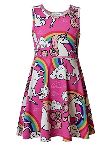 Jxstar Big Girls' Animal Dress Unicorn Clouds Printed Sleeveless Skater Dress140 (Animal Dress For Kids)