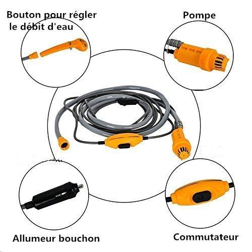 Douche de Camping Portable 12V Douche /à Main Portable Aliment/ée par Allume-cigare pour Camping Voyage Voiture Camping-car