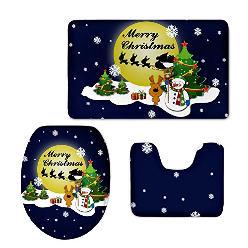 Partypeople 3 Piece Bathroom Rug Set Christmas Home Decorations Bath Mat, Contour Rug, Toilet Lid Cover - Christmas Rug Tree