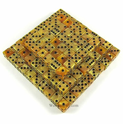 Gold Marbleized Dice d6 (Six Sided) 16mm (5/8in) Pack of 200 Dice Koplow Games