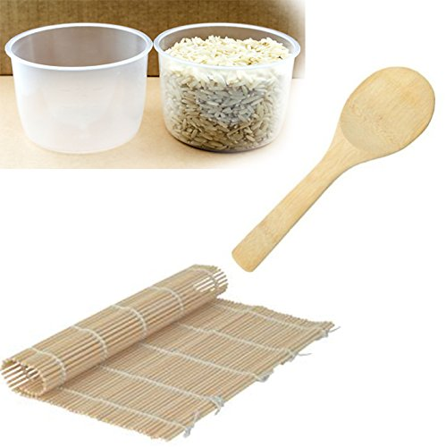 2 pack Rice Measuring Cup + Rice Paddle + Sushi Roller - Clear Bright Kitchen Brand Cooker Replacement Cup … (2 Rice Cups + Sushi Mat + Rice ()