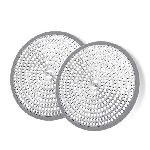 LEKEYE Shower Hair Catcher Drain Protector Strainer-Steel & Silicone 2 Pack