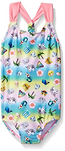 Price comparison product image Freestyle Big Girls' One Piece Racer Back Emoji Beach Party Swimsuit,  Multi,  8