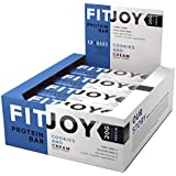 FitJoy Protein Bar, Gluten Free, Low Sugar, High Protein Snack, Cookies and Cream, Pack of 12 Bars