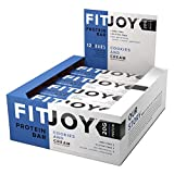 FitJoy Protein Bar, Gluten Free, Low Sugar, High Protein Snack, Cookies and Cream, Pack of 12 Bars For Sale