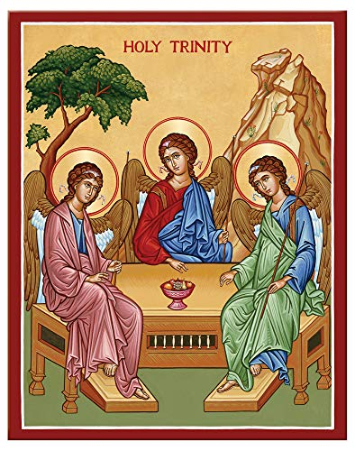(Monastery Icons Holy Trinity (Rublev Style) Mounted Plaque Icon Reproduction 7.8