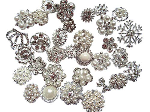 - YYCRAFT 30pcs Silver Crystal Brooch Buttons for Wedding Bridal Bouquet Decoration