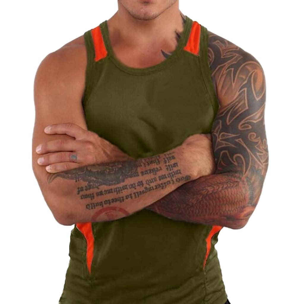 Forthery Men'S Round Collar Tank Top Slim Fit Athletic Tee Shirt Workout Fitness Vest(Army Green,US Size XL = Tag 2XL)