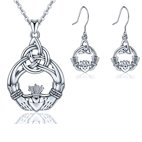 AEONSLOVE 925 Sterling Silver Celtic Knot You are My Only Love Drop Earring Pendant Necklace, Jewelry Set for Women, Gifts for Ladies Girls