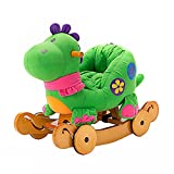 Image of Labebe Modern Plush Rocking Horse for Little Toddlers Kids Baby Boys & Girls (6-36 Months), Indoor Rocking Animal/Ride-On Toys/Rockers with Wheels and Sound Paper - Cute Stuffed Green Dinosaur