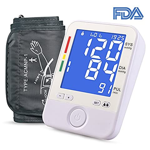 Automatic Upper Arm Blood Pressure Monitor- Adjustable Large BP Cuff(8.6-16.5inch), Blue Backlit Big Digital Display, FDA Approved BP Monitor with A/B Switch Button, 2 users 180 Groups - Automatic Arm