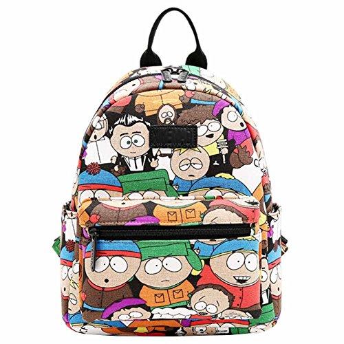 Song Women Print Lightweight Canvas Travel Shoulder Bag Girl Backpack Rucksack(Cartoon pattern) - Cartoon Pattern Canvas