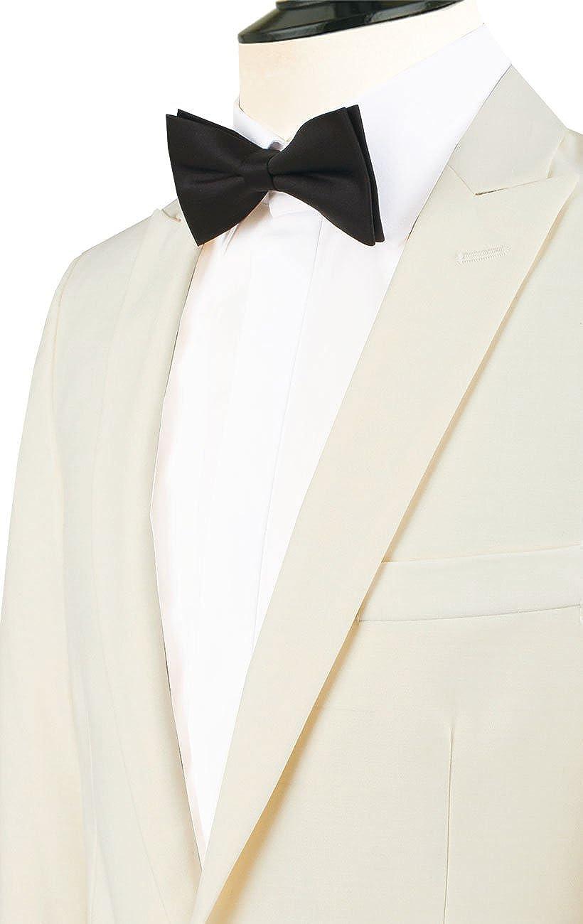 Dobell Mens White 2 Piece Tuxedo Slim Fit Peak Lapel Evening Dinner Suit Black Pants