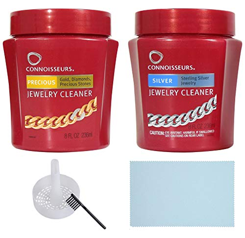 Connoisseurs 8 Fl oz. Precious Jewelry Cleaner, 8 Fl oz Silver Jewelry Cleaner, & Ultrasound All Purpose Jewelry Polishing Cloth 5IN X 6IN - 3 PACK (Jewelry Cleaner Precious)