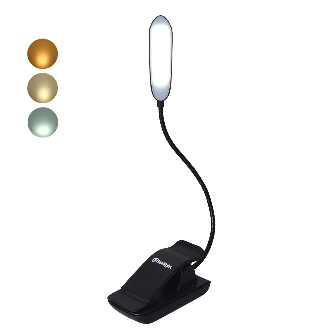 CeSunlight Rechargeable Book Light, Clip on Reading Light, 3000K-6500K Adjustable Color Temperature, up to 33 Hours of Continuous Lighting Time, 9 Illumination Modes, Best Lighting Quality