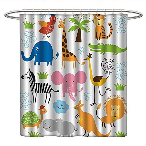 Anshesix Animalcute Shower curtainCute Set of Giraffe Elephant Zebra Turtle Kids Nursery Baby Themed Cartoon Comic PrintUnique Shower curtainMulti ()