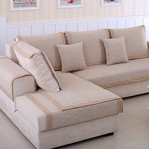 Sofa Furniture Protector for Pets Kids Sectional Sofa Throw Cover pad Cotton and Linen Anti-Slip Slipcovers l, U Shape Thicken Couch Cover-1 Piece-C ()