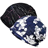 Cotton Beanie Chemo Headwear for Women (2 Pack Navy Butterfly+Black)