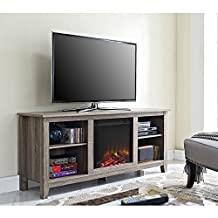 """Walker Edison 58"""" Fireplace TV Stand in Ash Gray"""