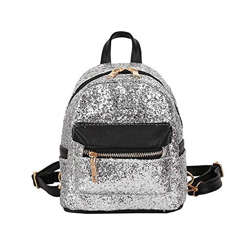 Backpack Women Kalaokei Shoulder Mini Colorful School Leather Glitter Silver Sequins Bags Faux Students xvgwYavqr