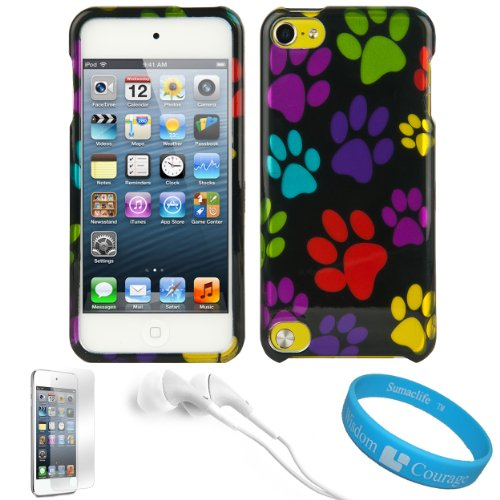 - SumacLife Faceplate Cover (Dog Paw) for Apple iPod Touch 5 + Screen Protector + White VanGodddy Headphones + SumacLife TM Wisdom Courage Wristband