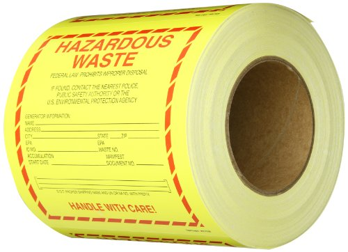 Tape Logic DL7530 Vinyl Shipping and Handling Label, Legend Hazardous Waste-Standard, 6