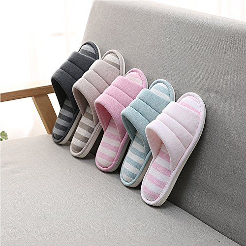 Indoor Shoes Black on Memory Shevalues Toe Open Slippers Slip House Foam Soft Cotton Home Slippers Women's 4xqqgw7ZE