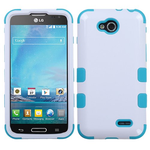hone Protector Cover for LG D415 Optimus L90 - Retail Packaging - Ivory White/Tropical Teal ()