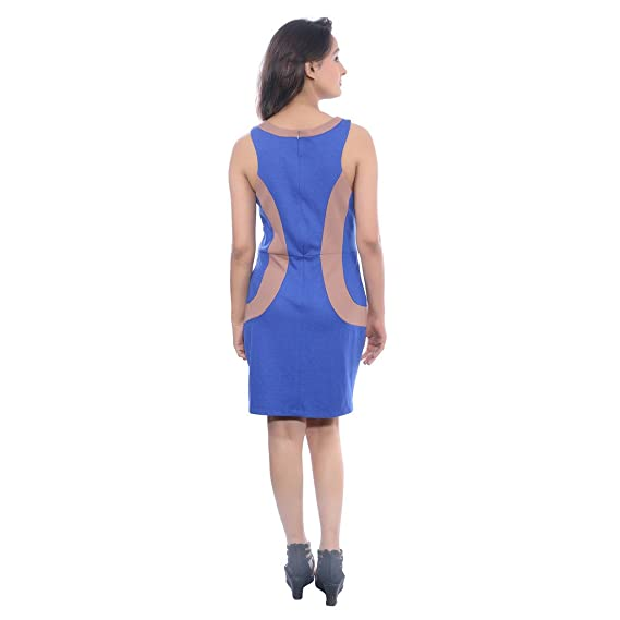 e490e1ff0285 ... MONA VORA Womens Cotton Sleeveless Solid A-line Blue Party Wear  DressLarge36 Amazon.in ...