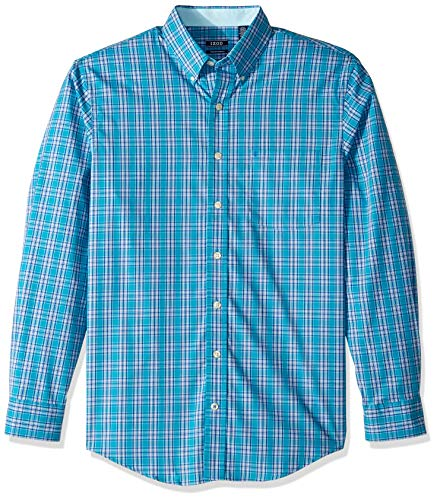 IZOD Men's Big and Tall Button Down Long Sleeve Stretch Performance Plaid Shirt, Caneel Bay 1, 2X-Large Tall ()