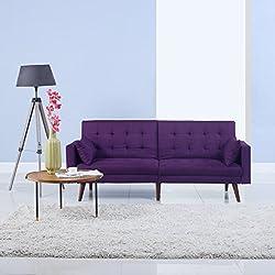 Divano Roma Furniture Modern Tufted Linen Splitback Recliner Sleeper Futon Sofa (Purple)