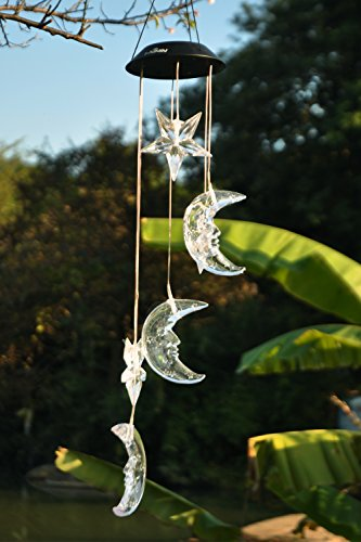 Lainin Solar Wind Spinner Color Changing Star Moon Wind Chime Light Mobile For Home Outdoor Garden Christmas Decoration