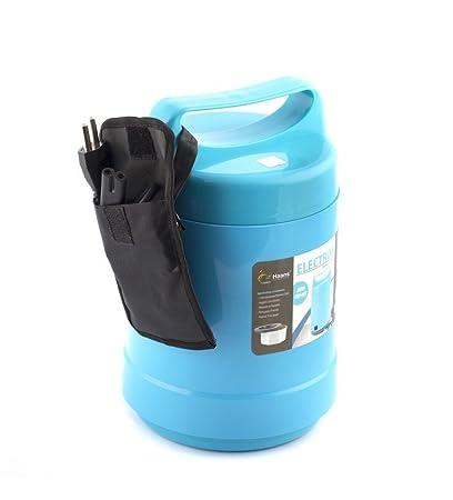King internacional 3 Tier calentador eléctrico caja de almuerzo | calentador de alimentos comida bento portátil 220 V térmico recipiente con tapa para ...