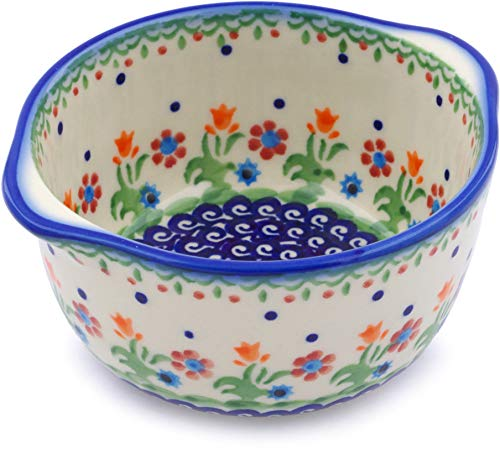 Polish Pottery 14 oz Bouillon Cup (Spring Flowers Theme) + Certificate of Authenticity