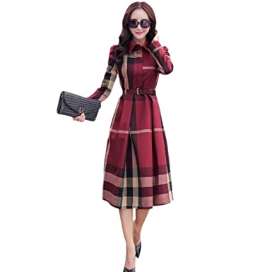 New Fashion Office Womens Dress Vintage Elegant Cotton A-line Knee Length Women Long Sleeve Plaid Long Vestidos
