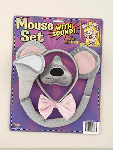 Forum Novelties Animal Costume Set Gray Mouse Ears Nose Tail with Sound Effects]()