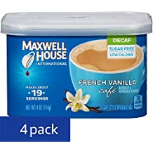 Maxwell House International Cafe Flavored Instant Coffee, French Vanilla, Decaf & Sugar Free, 4 Ounce Canister (Pack of 4)