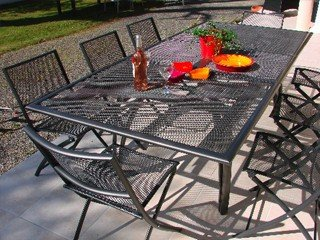 Table de jardin acier plateau aluminium avec rallonge DCB ...